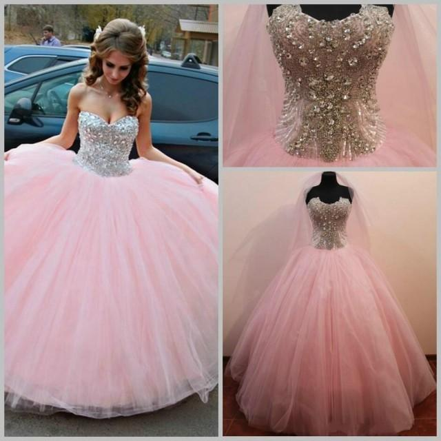 2015 Crystals Ball Gowns Tulle Wedding Dresses Beads Color