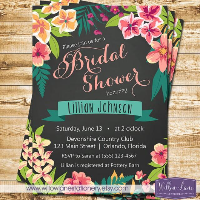 chalkboard tropical bridal shower invitation