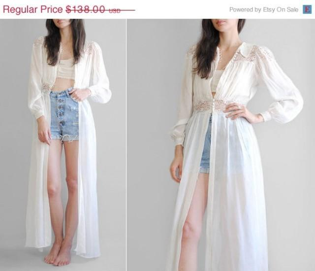 SALE/ Sheer Lace Duster // 40\'s Silk Chiffon Dressing Gown ...