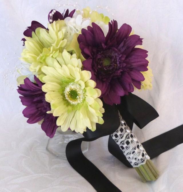 Gerbera Flower Wedding Bouquets: Silk Flower Bridal Bouquets Green Gerbera Daisies Violet