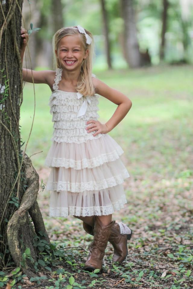 Country Flower Girl Dress Girls Ivory Lace Dress Rustic Baby Wedding Dresses