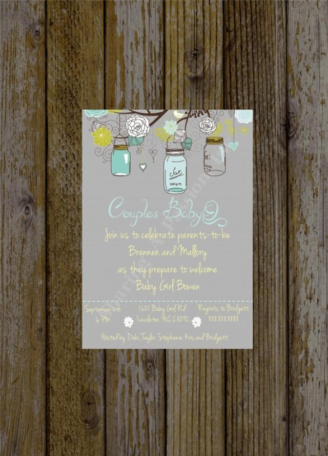 Mason Jar Baby Shower Invite - Couples Baby Shower BBQ - BabyQ ...