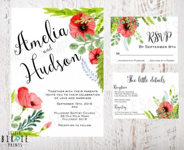 Watercolor Wedding Invitation Boho Chic Wedding Invitation Suite