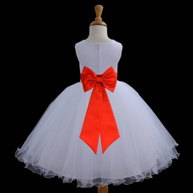 White Flower Girl Dress Tie Sash Pageant Wedding Bridal Recital ...