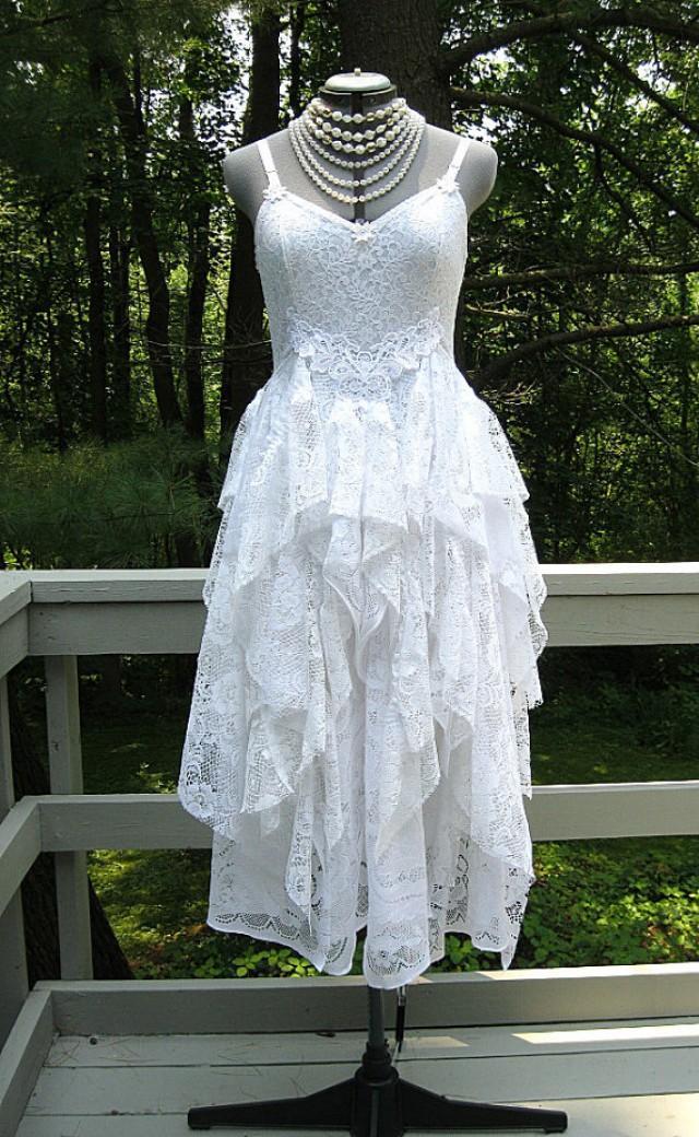 White Tattered Boho Gypsy Hippie Alternative Bride Wedding