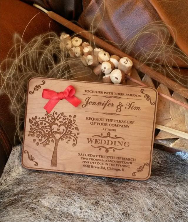Engraved Wood Wedding Invitation / Rustic Handmade Wedding ...