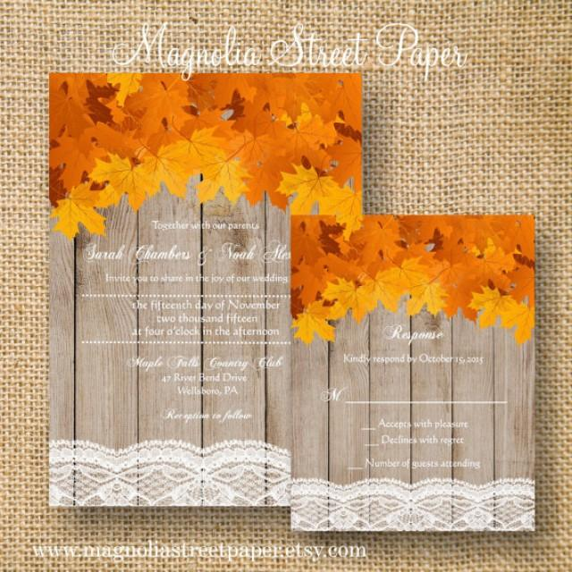 Rustic Fall Wedding Invitation Printable Leaves Suite Autumn Maple Lace And Wood Invite 2322660
