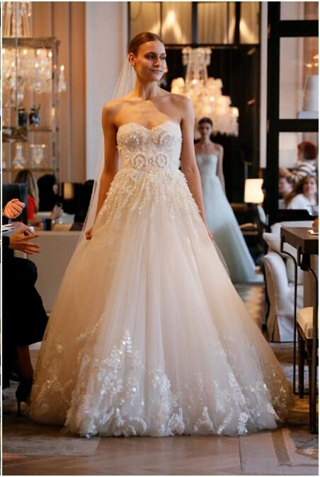 Monique Lhuillier 2016 Wedding Dresses Ball Gown Beaded Sequins ...