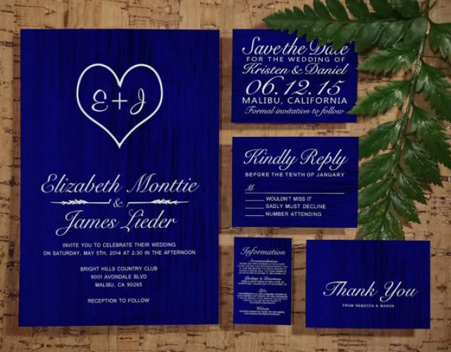 Royal Blue Wedding Invitation Cards: Royal Blue Country Wedding Invitation Set/Suite, Invites
