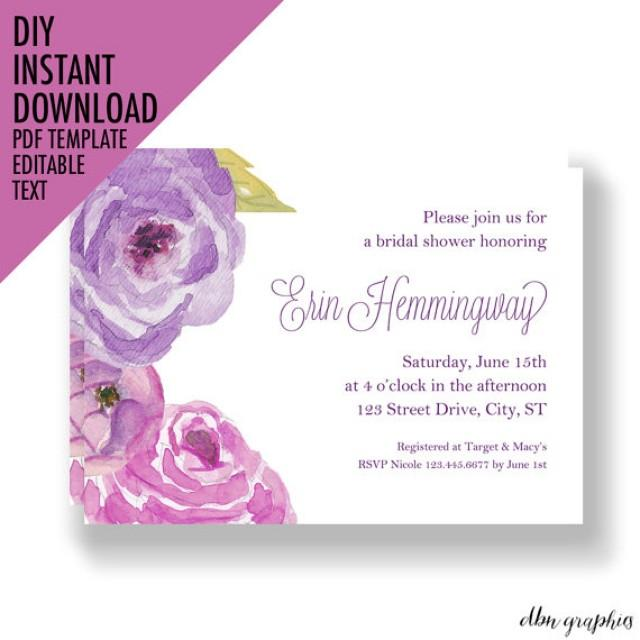 Instant download bridal shower invitations floral invitation bridal shower invitations purple for Instant download invitations