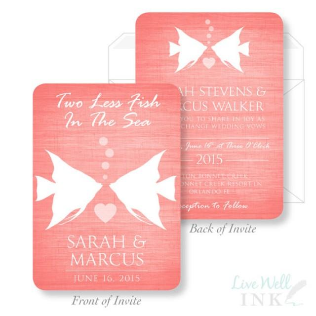 printed wedding invitation two less fish in the sea wedding invitation beach wedding fish wedding invitation two sided invitation 2323304 - Wedding Invitations Rochester Ny