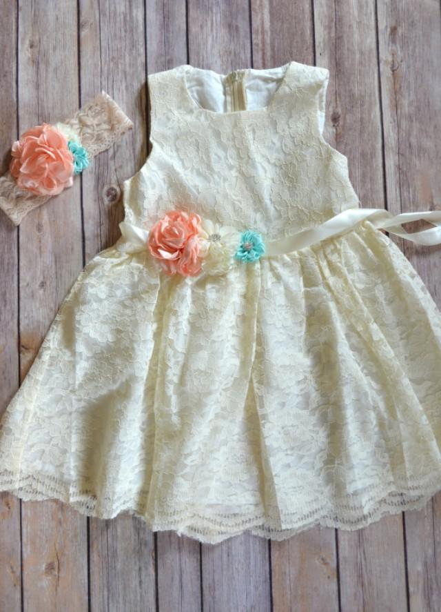 5a8c13dd891 Coral Mint Ivory Lace Flower Girl Dress Headband Set