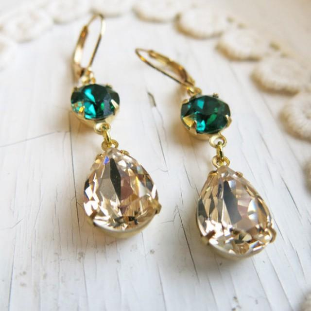Emerald earrings vintage earrings champagne gold earrings for Jewelry for champagne wedding dress