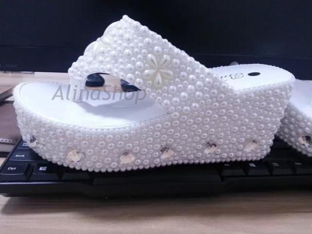 8e1804860d781a Wedding Sandals White Pearl Bridal Flip Flop Shoes Wedge Wedding Flip Flops  Clean Diamonds Custom Bridal Shoes 3.5 inch