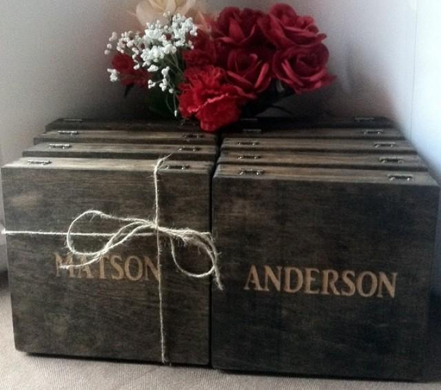 Groomsmen Gift - 8 Rustic Laser Engraved Cigar Boxes - Personalized & Stained Wooden Cigar Box - Custom Name Engraved - Wedding Favor #2324020 - Weddbook
