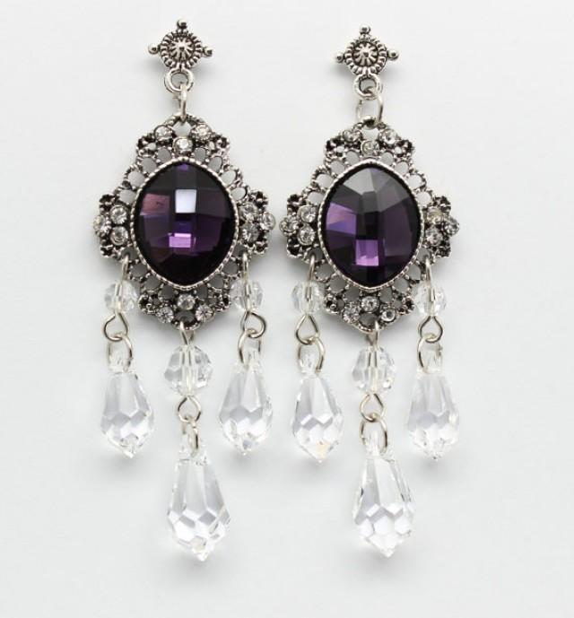 Eggplant Amethyst Chandelier Earrings Purple Bridal Victorian ...