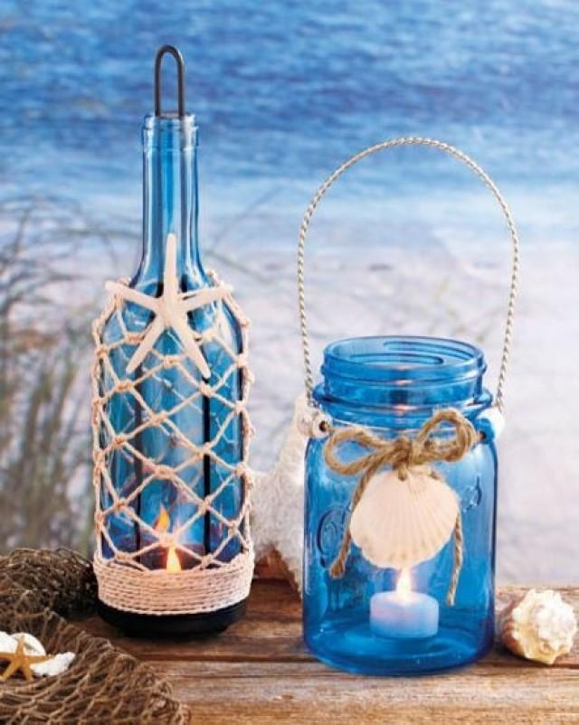 Seaside Blue Green Glass Mason Jar Bottle LED Tea Light ...