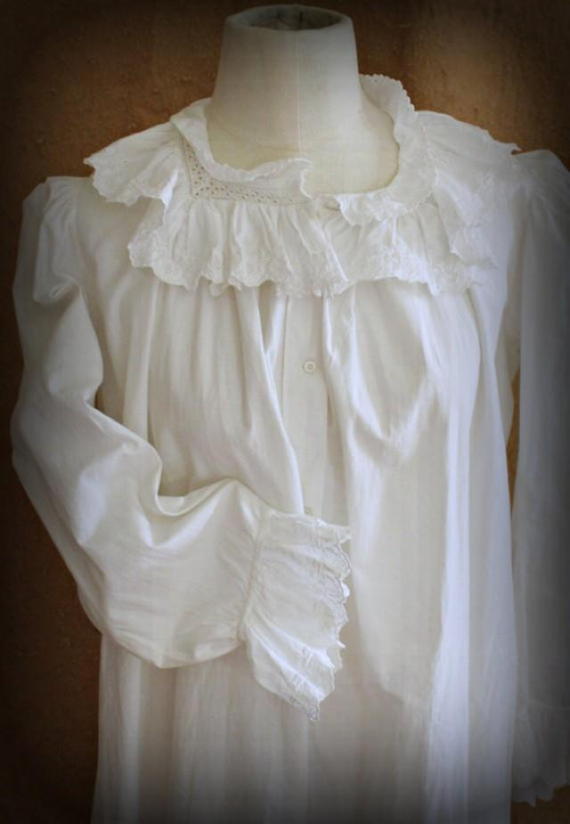 Antique Edwardian White Cotton Nightgown Womens Vintage