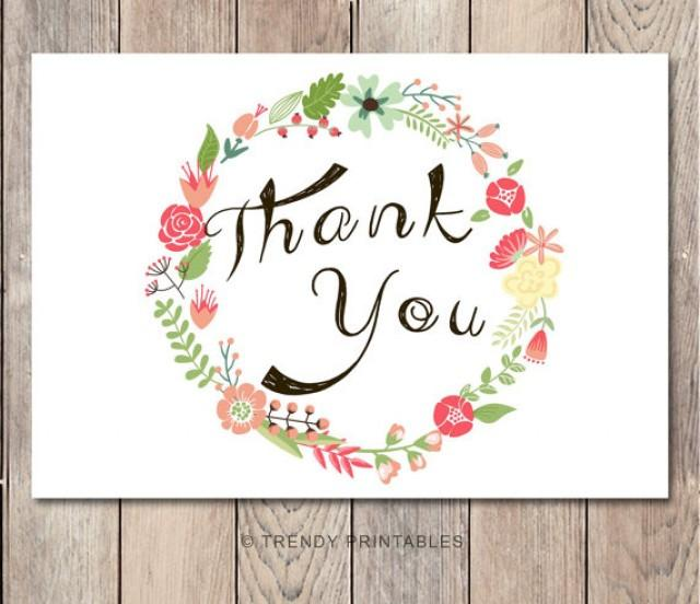 Instant Download Floral Thank You Card Engagement Party Thank You