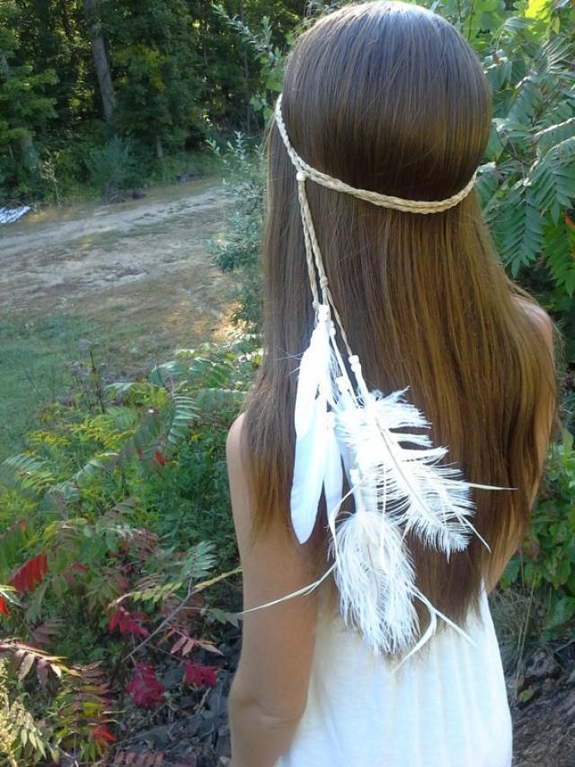 White Feather Headband Native American Style Wedding