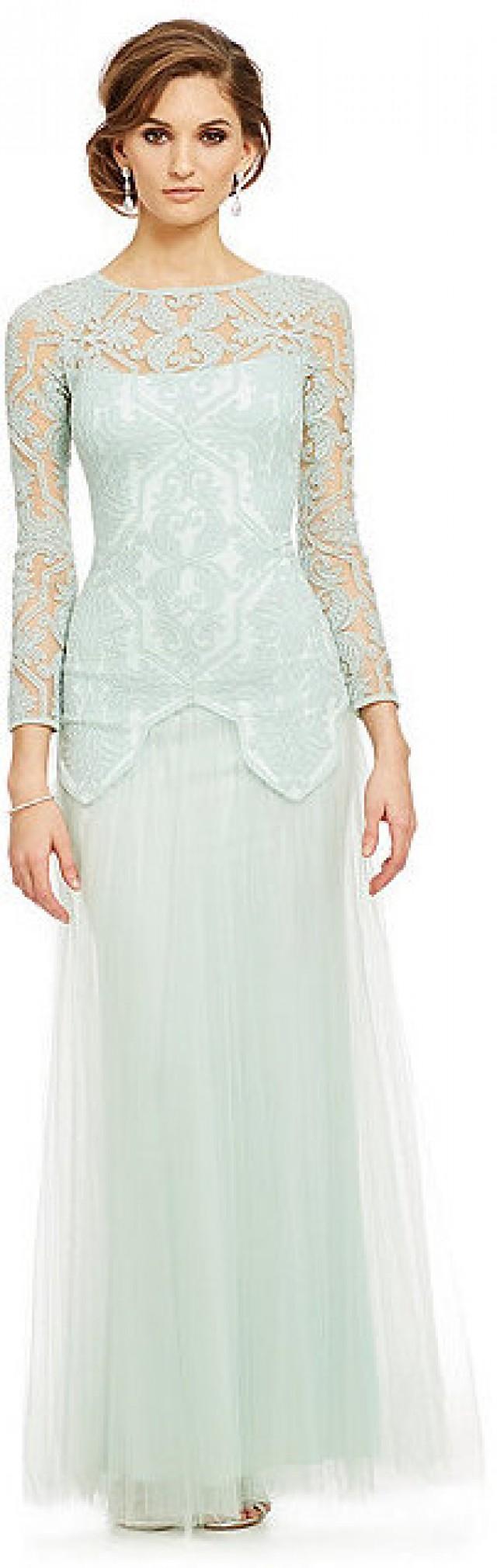 Tadashi Shoji Long Sleeve Embroidered Tulle Gown #2326204 - Weddbook