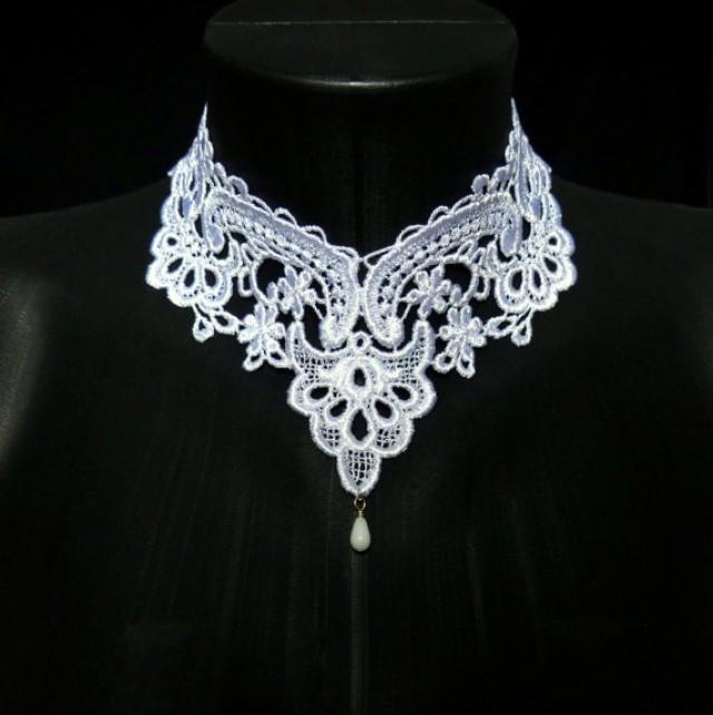 Wedding Nightwear Romantic Elegant: White Lace Choker Necklace
