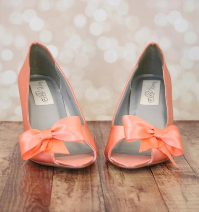 Wedding Shoes -- Peach Peep Toe Wedge Wedding Shoes With Off Center ...