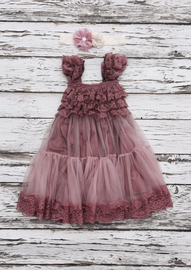fb2563c5bae Flower girl dress. lace flowergirl dress. Shabby chic vintage dress. Dusty  rose flower girl dress. Dusty pink Toddler lace dress.
