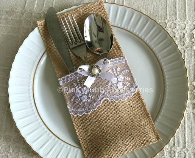 10 burlap and white color lace rustic silverware holder