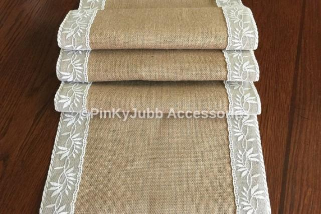 Rustic Burlap Table Runner With Ivory Color Lace Trim