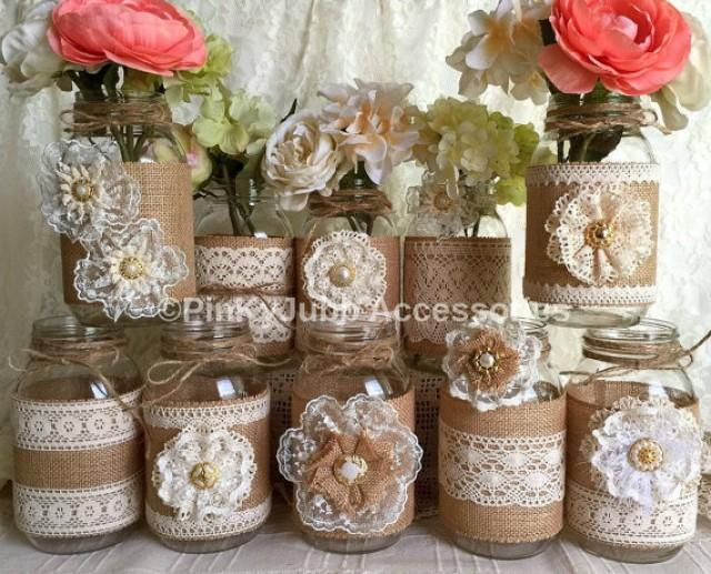 10x natural color lace and burlap covered mason jar vases wedding bridal shower baby shower decoration 2327497 weddbook