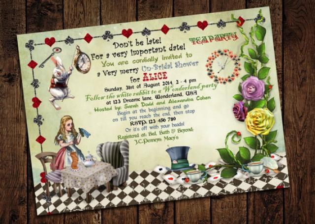 Alice In Wonderland Bridal Shower Invitation - Mad Hatter ...