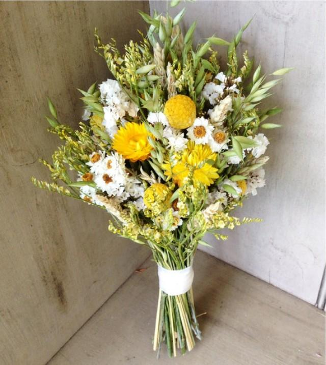 Simple Fall Bridal Bouquet Of Wheat Craspedia And Dried Flowers