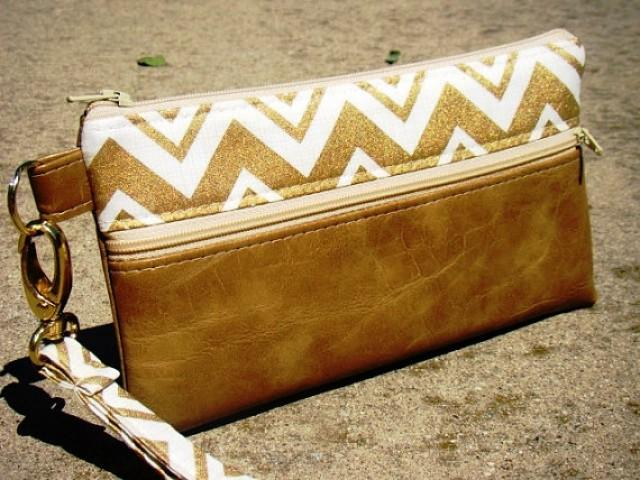 Gold Metallic Chevron Vegan Leather Wristlet Wedding Clutch Custom Wristlets Bridesmaids Gifts Phone Bags Personalized 2327829