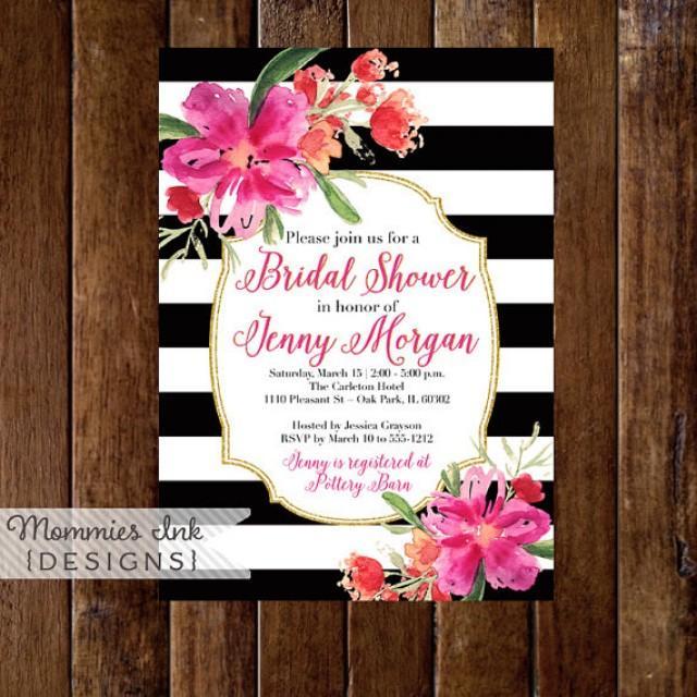 bridal shower invitation floral black and white stripes shower