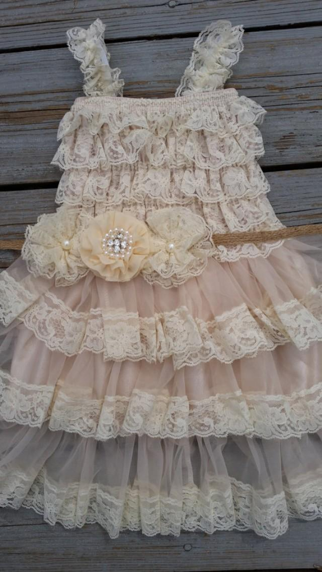 lace flower girl dress shabby chic flower girl cream. Black Bedroom Furniture Sets. Home Design Ideas