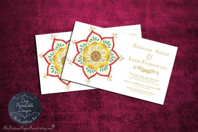 printable indian wedding invitation template pdf lotus floral anniversary engagement party bridal shower asian buddhist thai sri lanka cheap 2328376