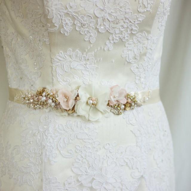 Blush Wedding Belt Sash Bridal Champagne Gold Floral Dress Narrow Ready To Ship 2328433
