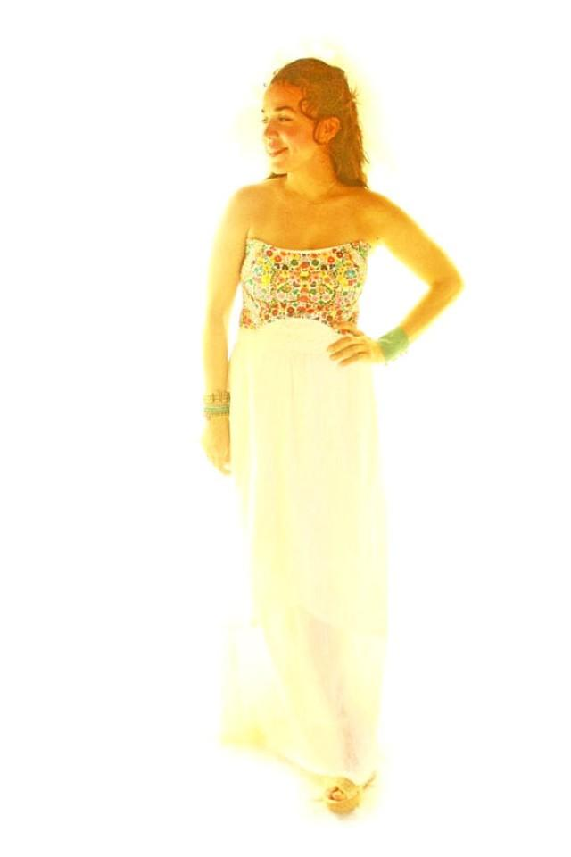 Florecitas Mexican Wedding Dress Hand Embroidered Bohemian Maxi ...