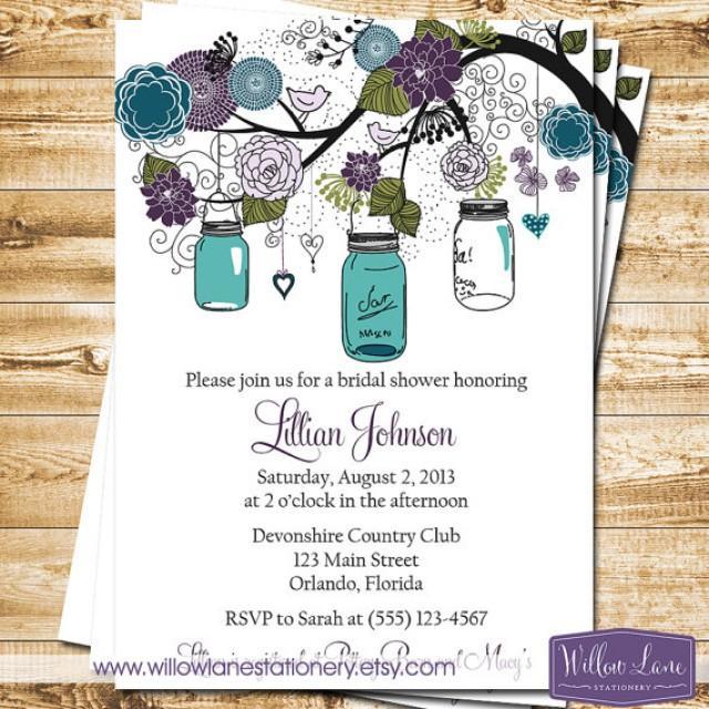 Mason Jar Bridal Shower Invitation - Mason Jar Bridal Shower ...