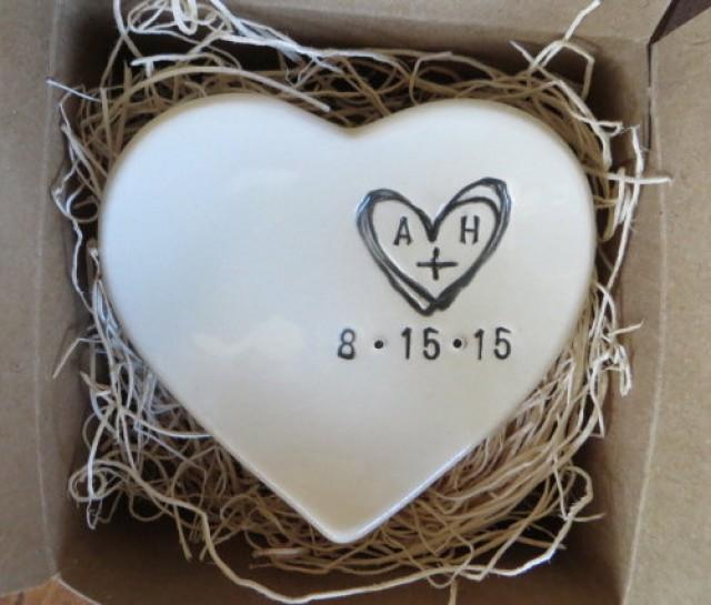 Monogram ring dish engagement ring holder custom ceramic for Heart shaped jewelry dish