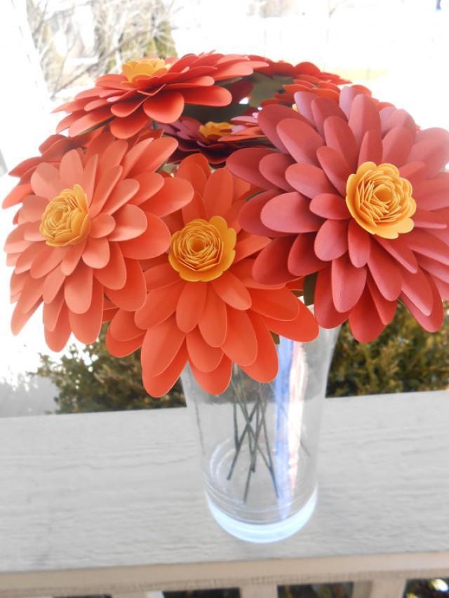 Gerber Daisy Paper Flower Bouquet. CHOOSE YOUR COLORS. Centerpiece ...