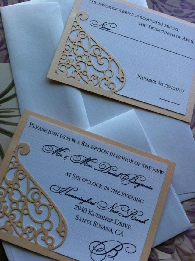 Lasercut Wedding Invitation Sleeve Pocket - Elegant Swirl Pattern ...