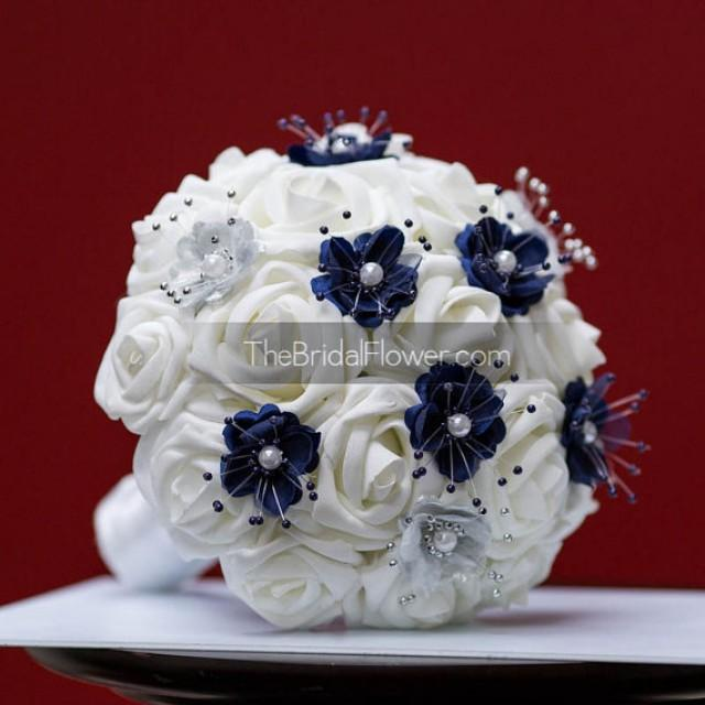 Small Blue Flowers For Weddings: Navy Blue And Silver Small Wedding Bouquet For Bridesmaids