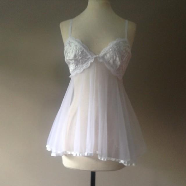 M Sheer Babydoll Nightie White Nylon With Satin Size