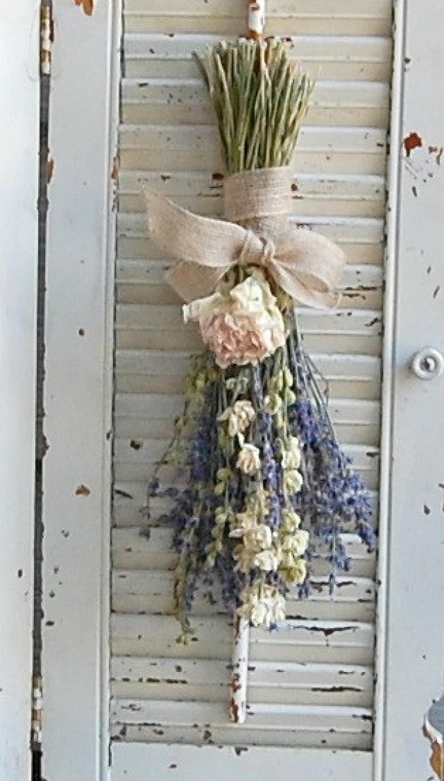 Dried Lavender Bouquet With Dried Larkspur And Peony Dried Flower Arrangement 2331172 Weddbook