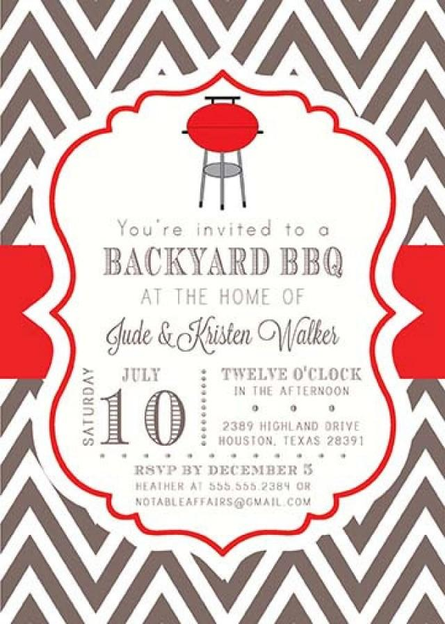 BBQ Barbecue Backyard Party Celebration Couples Shower Invitation