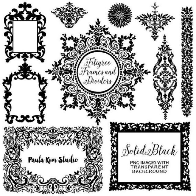 80% OFF SALE Solid Black And White Digital Frames, Flourish Clipart, Wedding  Invitation Clip Art, Instant Download #2331271   Weddbook