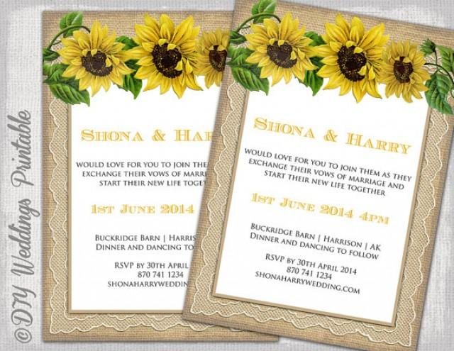 Country Wedding Invitation Template Quot Rustic Sunflower