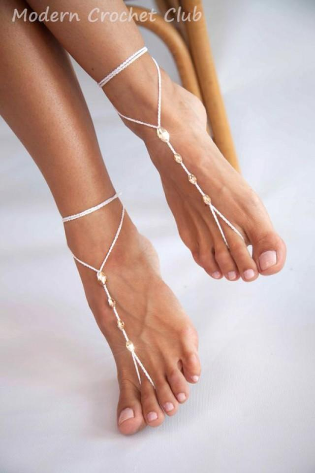 simple crystal barefoot sandals color beach wedding